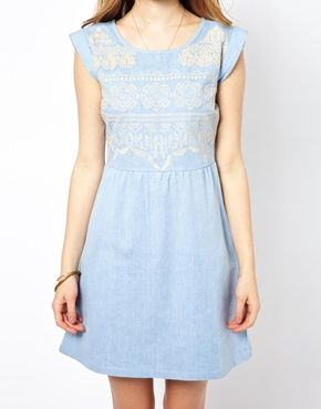 Image 3 of By Zoe Chambray Mini Dress with Embroidery