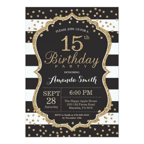 15th Birthday Invitation Black And Gold Glitter Invitation Zazzle Com 60th Birthday Invitations 70th Birthday Invitations 90th Birthday Invitations