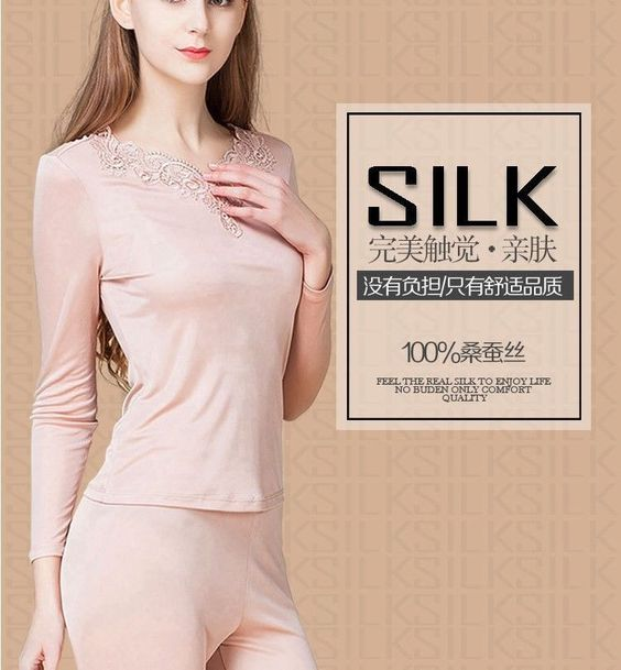 Girls Silk Long Johns Set Thermal Underwear Sleep Nightwear