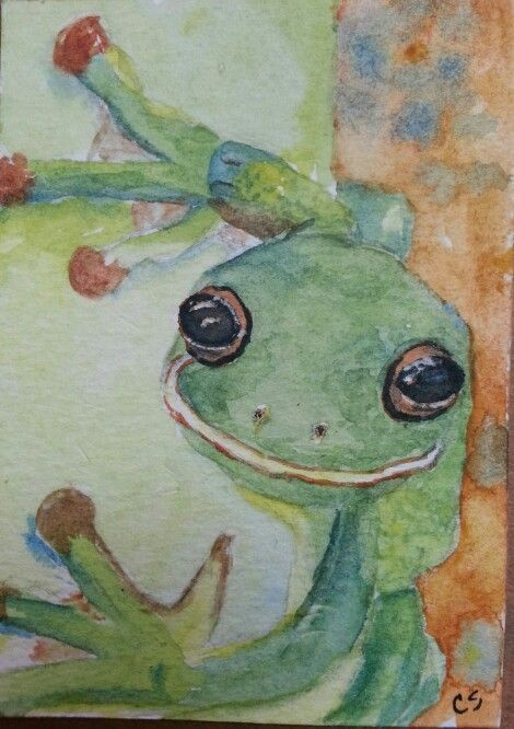 """Artist trading card by Cathy Schneider/ watercolor, 2 1/2"""" x 3 1/2"""""""