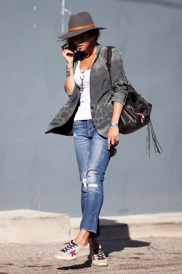 All Saints Blazer, Balenciaga Bag, Golden Goose Sneakers, Zara Jeans, By Opaline Necklace