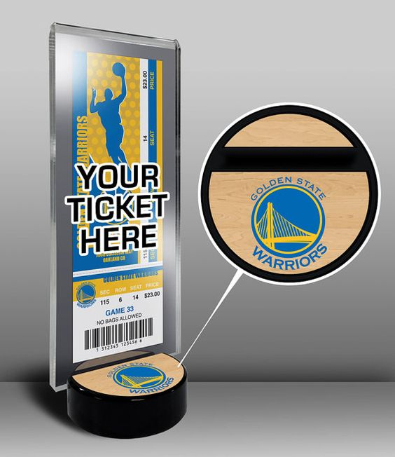 Golden State Warriors Ticket Display Stand - Team Logo or My First Game