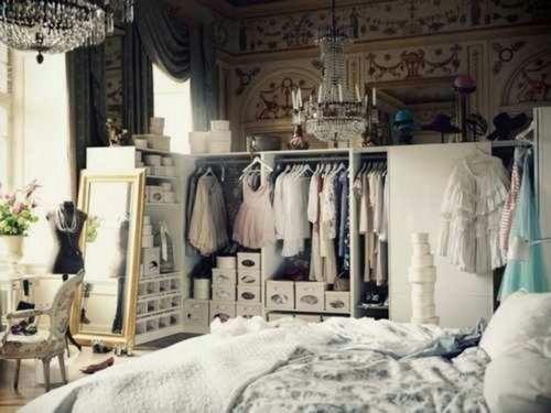Elegant room bedroom bed elegant clothes style furniture closet design chandelier interior