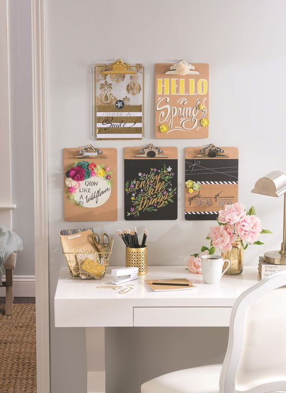 Office Organization Ideas -- Clipboard Wall Art:
