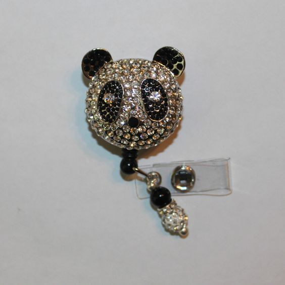 A personal favorite from my Etsy shop https://www.etsy.com/listing/281687480/rhinestone-panda-bling-badge-reel