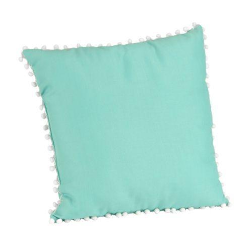Aqua and White Pom Pom Pillow | Kirklands