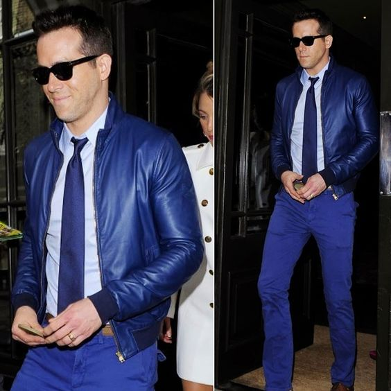 HOW TO WEAR LEATHER JACKET RYAN REYNOLDS BLUE JEANS SUNGLASSES