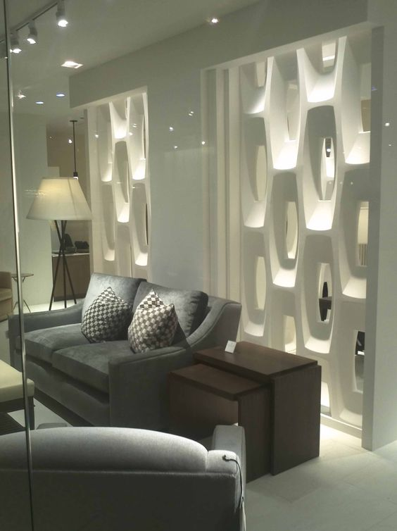 Elegant white concrete partition with hexagonal shapes as inspiring modern room dividers ideas - Living room dividers ideas ...