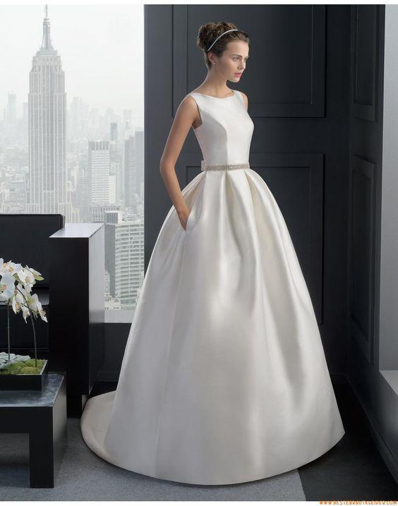 2015 Ballkleid Schlichte Moderne Brautkleider aus Taft mit Perlenstickerei