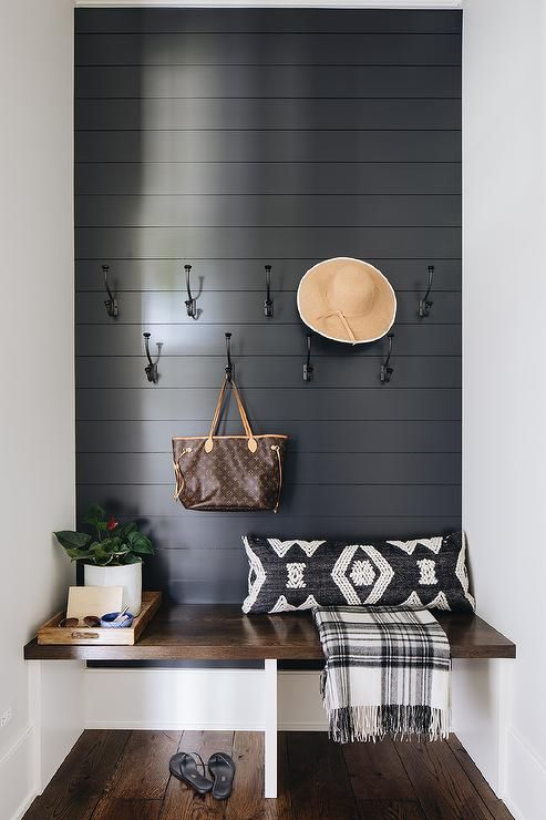 Mudroom Bench Designed In A Floating Oak Feature With A Black Shiplap Wall And Iron Hooks In 2020 Mudroom Decor Ship Lap Walls White Shiplap Wall