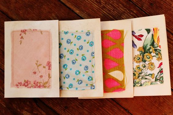 Home made stationary - soak cards in tea & stitch on fabric scraps