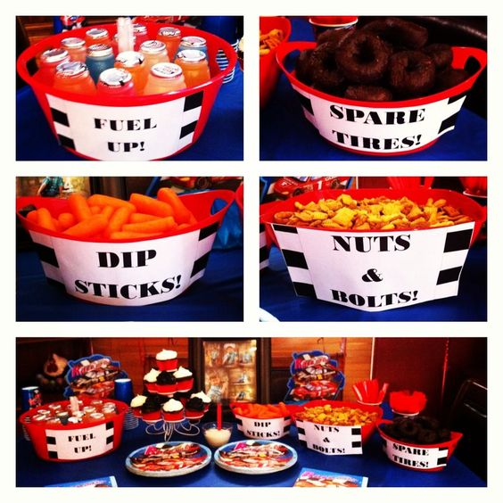 The party snacks for my sons racecar birthday party!