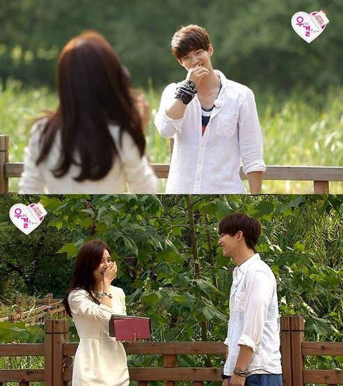 """Song Jaerim and Kim Soeun use skinship to find each other on MBC """"We Got Married"""":"""