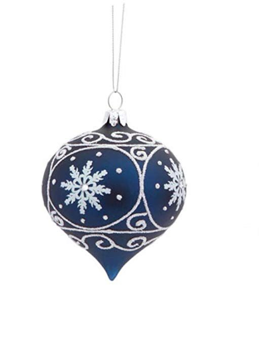 Melrose 3 5 Matte Navy Blue Glass Onion Shaped Christmas Ornament With White Glitter Designs Blue Christmas Ornaments Blue Christmas Decor Blue Christmas