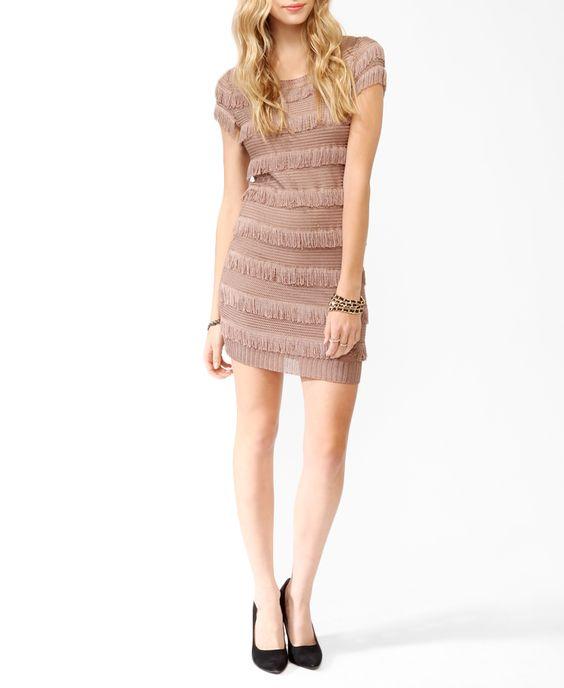 Fringed Open Knit Dress
