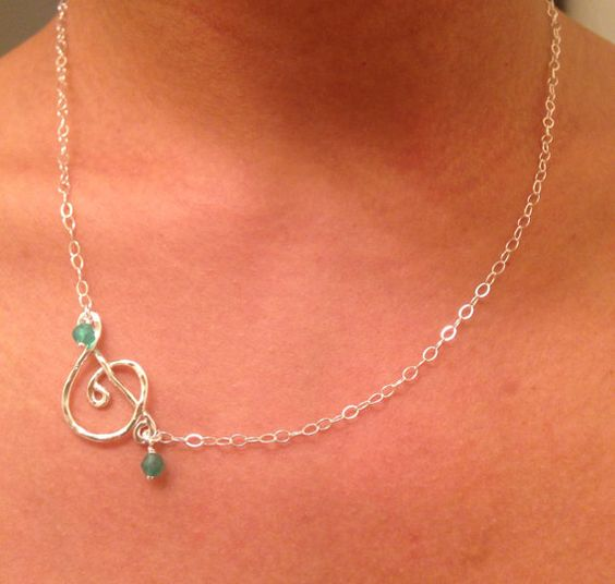 Music Jewelry - Treble Clef Necklace, Music Note Charm, Music Necklace - Personalized with Your birthstone on Etsy, $24.99