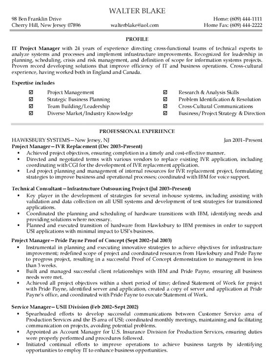 IT project manager resume writer Resume Clinic Pinterest - information technology intern job description