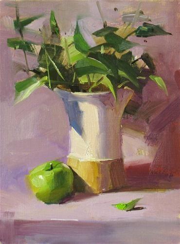 Greens in purple original fine art for sale by for Original fine art paintings for sale