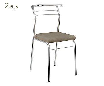 Jogo de Cadeiras Gulive - Conhaque e Cromado
