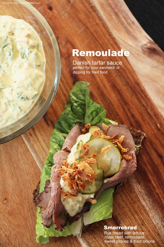 "Remoulade is a Danish type of tartar sauce. Usually the Danes eat it as a topping on their open-faced sandwiches (""smørrebrød"") or as a dip for their fried food. It is addictingly good when homemade. My friend Gro made the remoulade for last year's Danish Christmas party and I immediately requested her recipe."