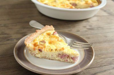 This ham and cheese quiche looks amazing! Much lower fat than other recipes. Recipe for base included. No cream!