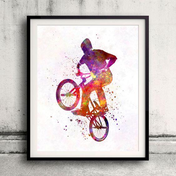 Man bmx acrobatic figure in watercolor - Fine Art Print Glicee Poster Home…