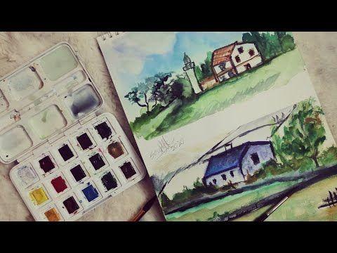تعلم رسم منظر طبيعي بالألوان المائية للمبتدئين بطريقة سهله Youtube Drawings