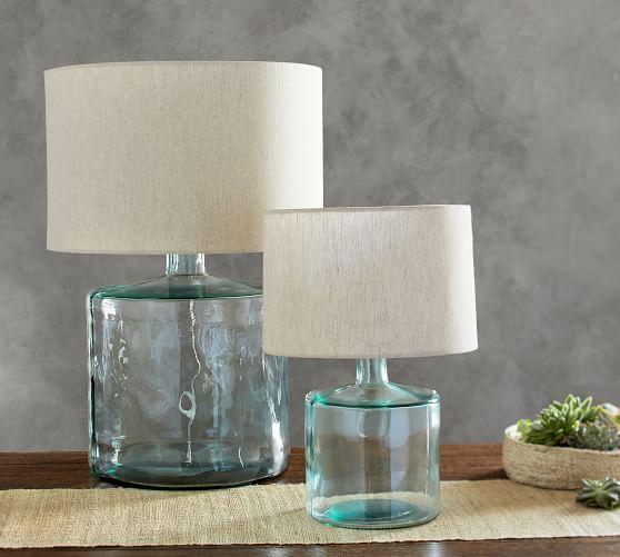 Mallorca Recycled Glass Table Lamp Potterybarn Table Lamp Wood Glass Table Lamp Table Lamp
