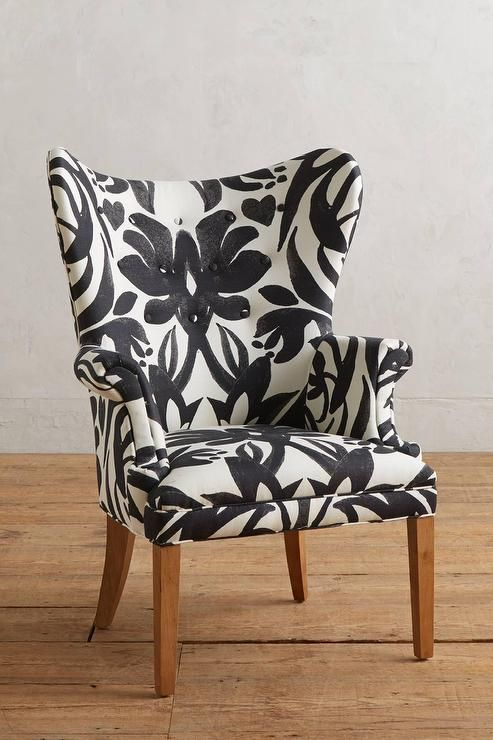 Black And White Wingback Chair With Images Patterned Chair