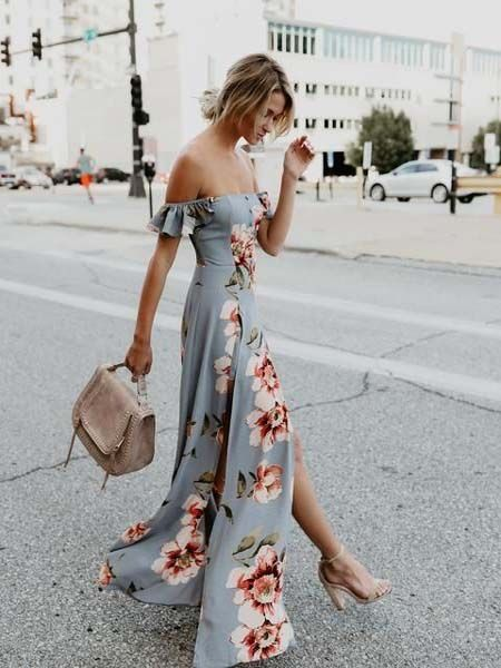 Off shoulder maxi dress for summer 2018