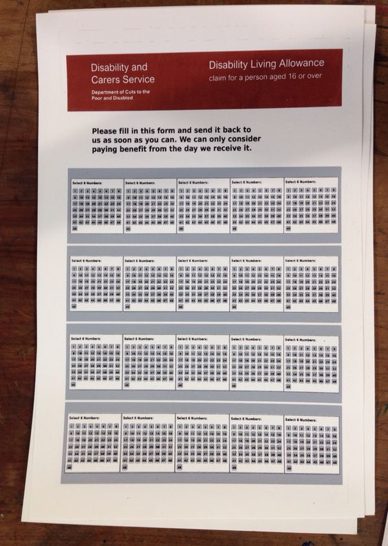 Screen print with an amusing take on the Disability Living Allowance - disability form
