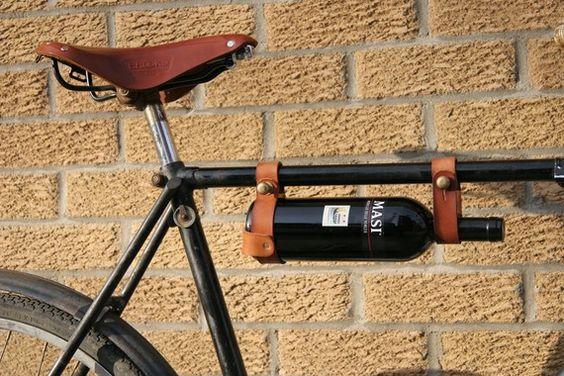 Bicycle Wine Rack, Leather