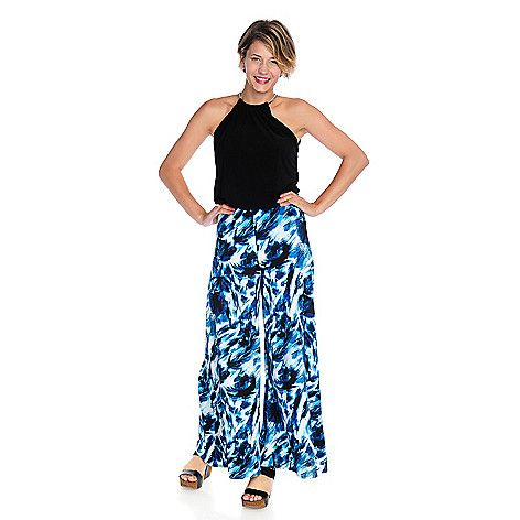 718-536 - aDRESSing WOMAN Stretch Knit Sleeveless Printed Pant Jumpsuit: