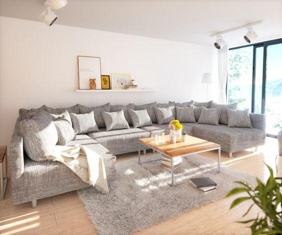 Wohnlandschaft Clovis XL Hellgrau Strukturstoff Modulsofa Hocker Möbel Sofas…