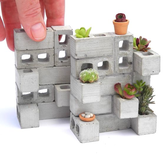 NEW Miniature Cinderblock Planter from TwoGreenThumbs.com!
