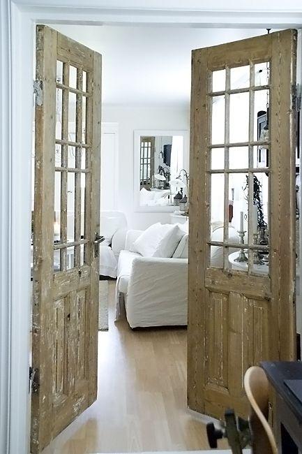 love these doors!!!!!   Old: Interior French Doors, Rustic Doors, Living Room, Office Doors, Master Bedrooms, House Idea