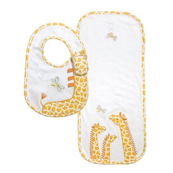 CR Gibson - Baby Dumpling - 2 pc Little Fair Giraffe Bib + Burp Set