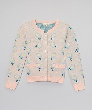 Look what I found on #zulily! Light Pink Dandelion Puff Cardigan - Toddler & Girls #zulilyfinds