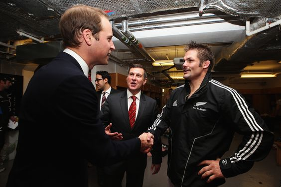 Prince William, Duke of Cambridge meets Richie McCaw. Photo / Getty Images