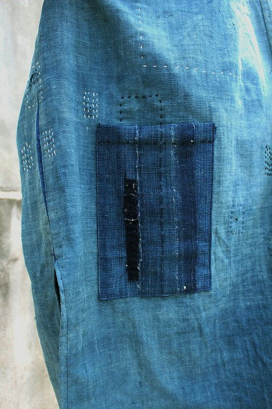 Japanese boro indigo cotton patchwork sleeveless by SASAKIYOHINTEN