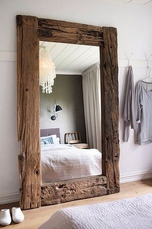 Rustic Master Bedroom with Pottery Barn - Oversize Capiz Chandelier, Environment Beam Mirror, Crown molding, Chandelier