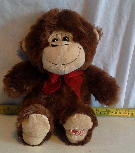 Love monkey 15 inch stuffed animal chimp toy brown ribbon bow tie kelly
