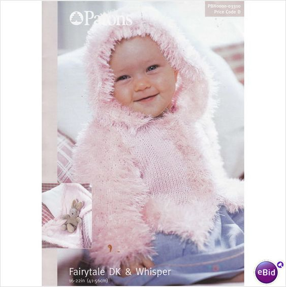 Eyelash Wool Knitting Patterns : 3310 Patons Knitting Pattern Baby Hooded Jacket Eyelash Yarn 16-22