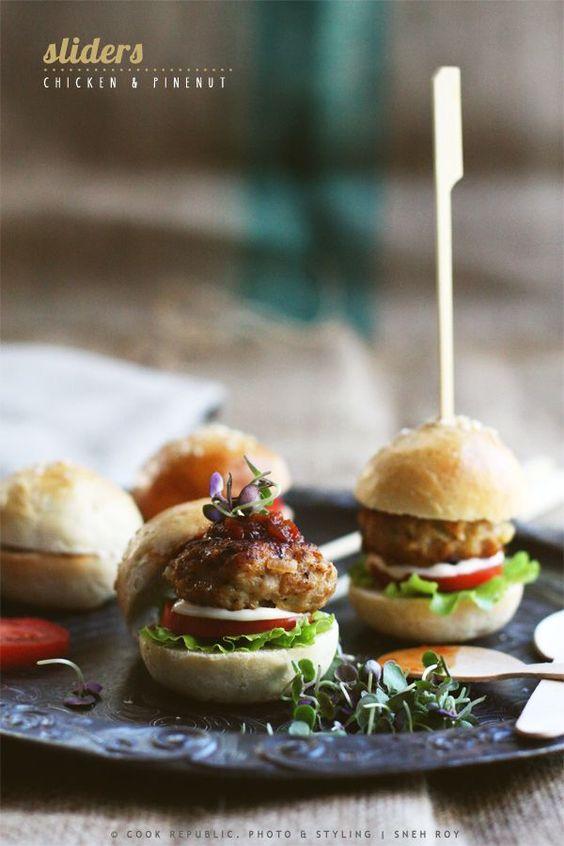 Chicken and pinenut sliders (mini burgers), #Chicken, #Sliders