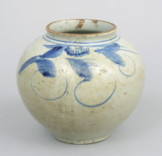 """A Korean Vase, ca. 19th Century, with hand painted cobalt blue decorations, measuring . 7-1/8""""H x 7-1/2"""" in diameter at the widest point of the bulbous form.:"""
