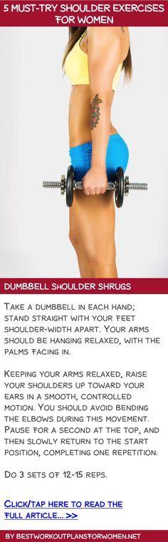 4 must-try shoulder exercises WITH VIDEOS for women - Dumbbell shoulder shrugs