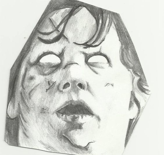La niña del exorcista dibujada por un amigo