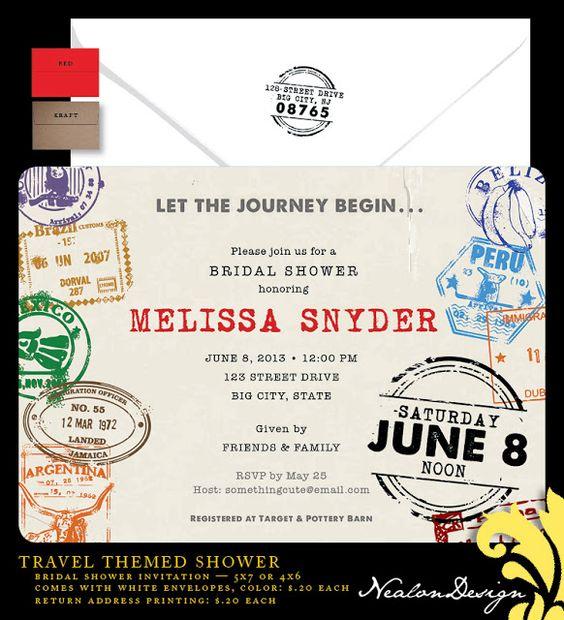 Nealon Design: Travel Bridal Shower Invitation