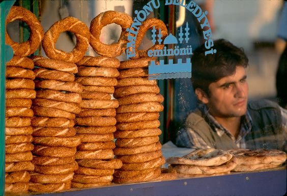 Istanbul Turkey, 1998.  A street vendor selling pretzels , photo by Steve McCurry (please repin with photographer's credits)