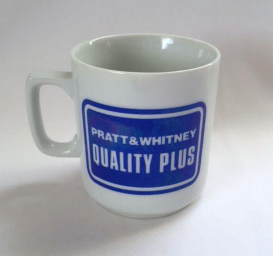 Pratt Whitney Mug Quality Plus Q+ Bald Eagle Blue White Advertising Coffee Cup